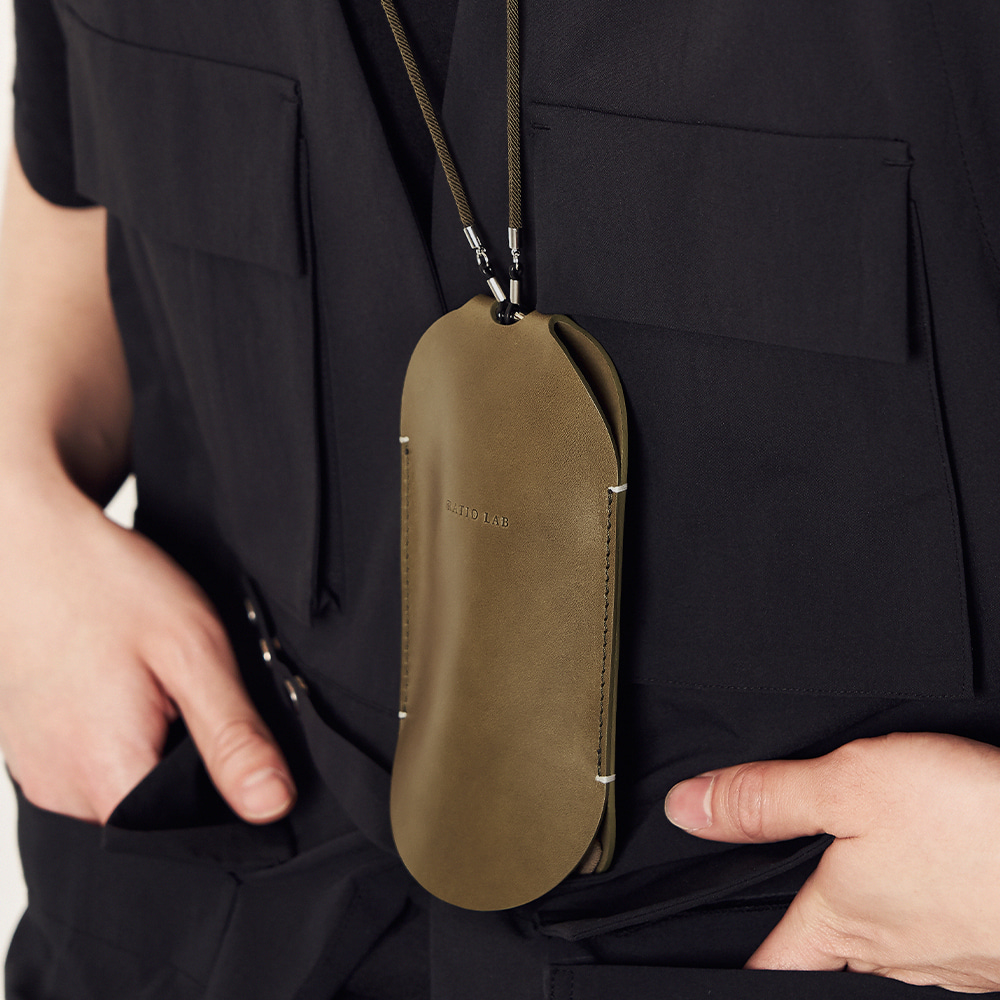 Leather Necklace Case Olive