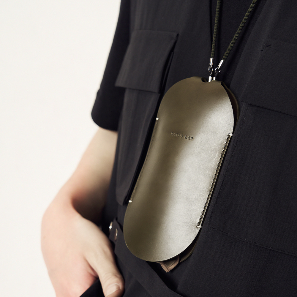 Leather Necklace Case Khaki