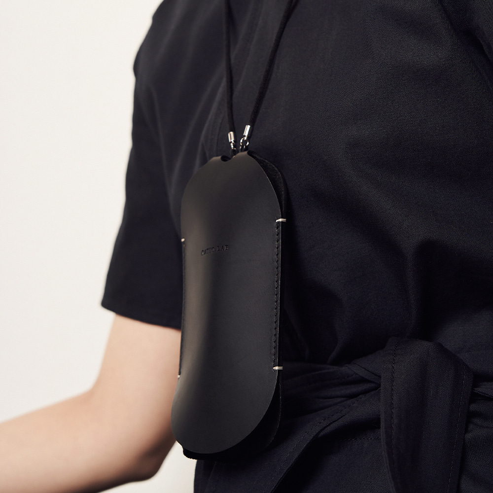 Leather Necklace Case Black